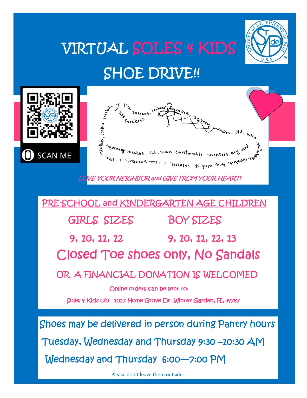 Flyer for Virtual Soles 4 Kids - 2020